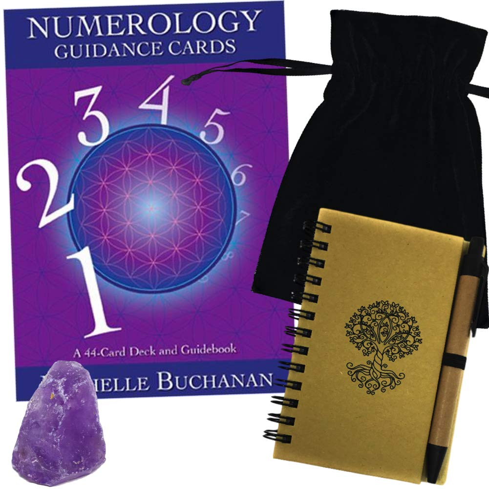 Numerology Guidance Card Deck Set with Velvet Tarot Bag, Amethyst, and Journal with Pen by HuntGirl Gifts