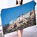Quick-Dry Bath Towel Famous Hollywood landmark in Los Angeles,California Famous Hollywood landmark Ideal for everyday use L63 x W31.2 INCH