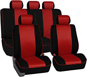 FH Group FH-FB063115 Full Set Sports Fabric Car Seat Covers, Airbag Compatible and Split Bench Red/Black- Fit Most Car, Truck, SUV, or Van