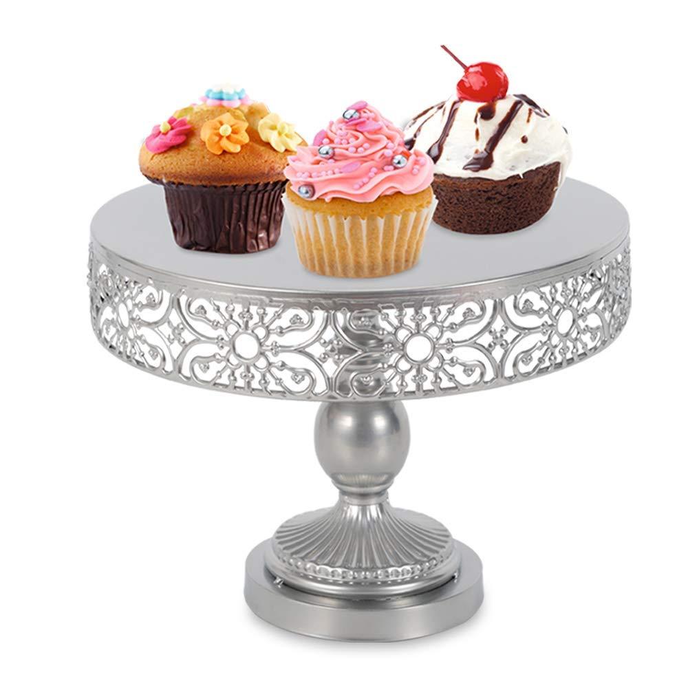 Cake Stands, Metal Cake Holder Cupcake Stands with Cake Stand Dessert, Wedding Birthday Dessert Cupcake Pedestal Display, USA STOCK (1 Tier, Silver)