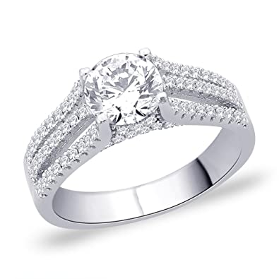 Peora Micro Pave Set Three Split Shank w/Round Cubic Zircon Ring for Women Rings at amazon