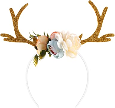 Premium Reindeer Horns Headband with Ears Unisex Deluxe XMAS Gift Novelty