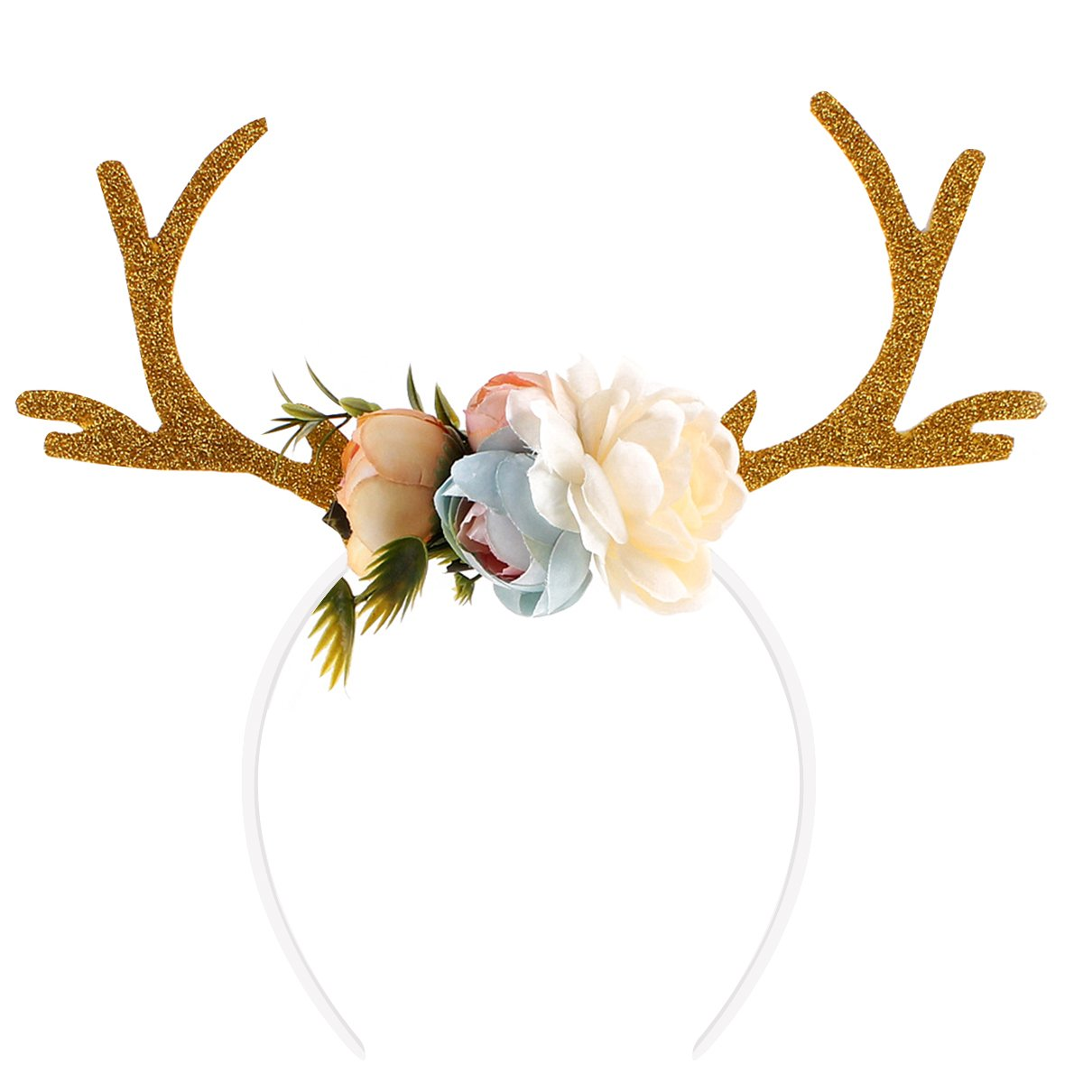 Amazon.com  OULII Funny Deer Antler Headband with Flowers Blossom Novelty  Hair Band Christmas Fancy Dress Costumes Accessory (Khaki)  Health    Personal Care 978e5165636