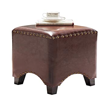 Incredible Uusshop Wood Seat Footstool Footrest Ottoman Pouffe Chair Foot Stool With Faux Luxury Oil Wax Leather Cover Square Brown Andrewgaddart Wooden Chair Designs For Living Room Andrewgaddartcom