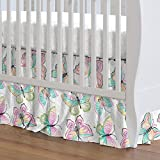 Carousel Designs Bright Damask Butterflies Crib Skirt Gathered 20-Inch Length