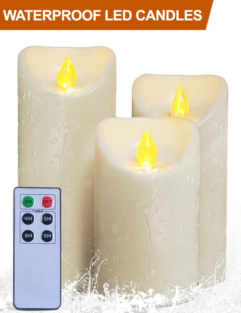 HOME MOST Set of 3 Waterproof Pillar LED Candles with Remote & Timer (IVORY, 5''/6''/7'' Tall, Oblique Edge) - LED Timer Candle Set Church Candles - Flameless Candles Timer Outdoor Decorative Candle Set
