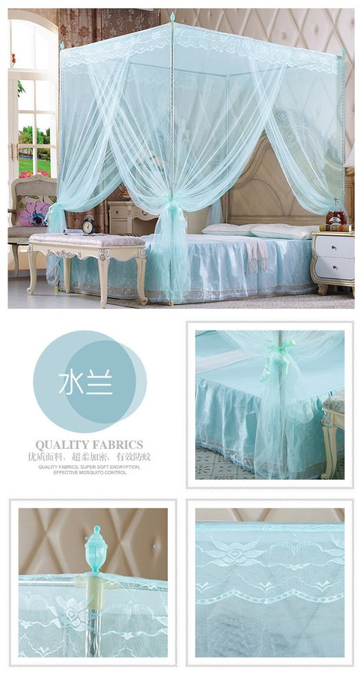 DE&QW Pink court four corner post mosquito net bed canopy, Three-doors Princess Encrypted tulle mosquito curtain-blue King