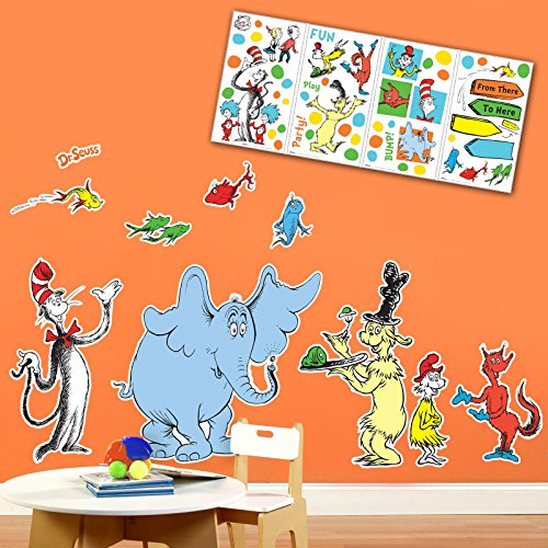 BirthdayExpress Dr Seuss Cat in The Hat Room Decor - Giant and Small Wall Decal Kit]()