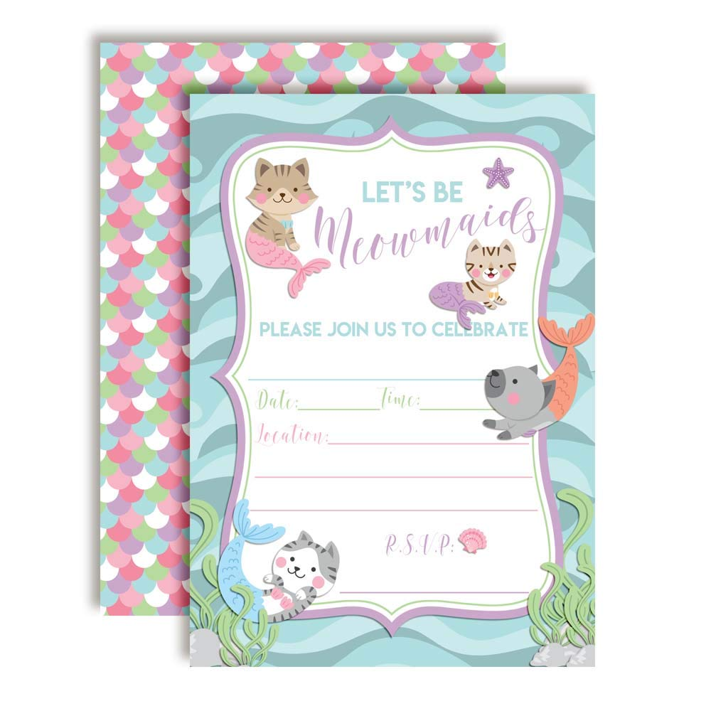 Magical Mermaid Birthday Party Invitations for Girls 20 5x7 Fill in Cards with Twenty White Envelopes by AmandaCreation 20 5x7 Fill in Cards with Twenty White Envelopes by AmandaCreation Amanda Creation