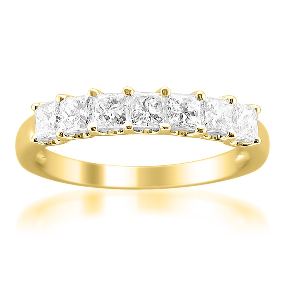 14k Yellow Gold Princess-Cut Diamond Wedding Band (1cttw, I-J Color, I1-I2 Clarity), Size 7.5