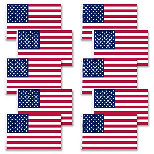 10 Piece Durable Polyester American National Flag Stars Grommet United States Flagpole Great For Your Home Office - Mack 10 Gun