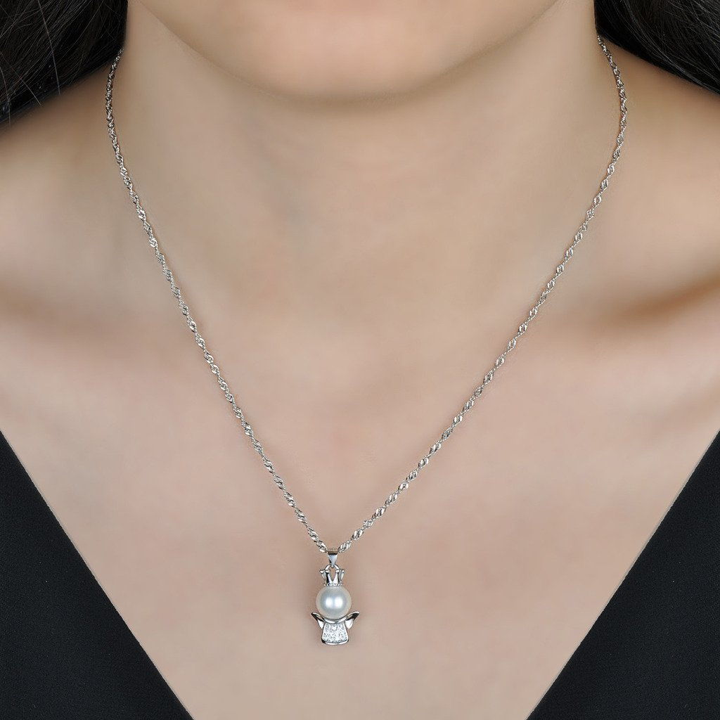 in argento Sterling 925 Collana con ciondolo angelo custode per donne e bambine zirconi Yumilok perla