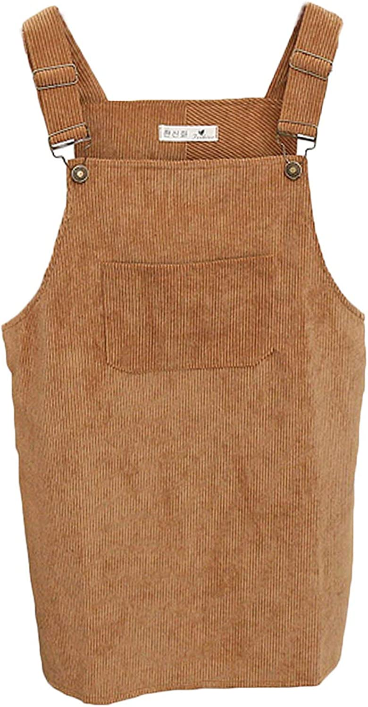 E.JAN1ST Womens Straps A-line Corduroy Suspender Skirt Pinafore Bib Mini Overalls Skirt Dress Pocket