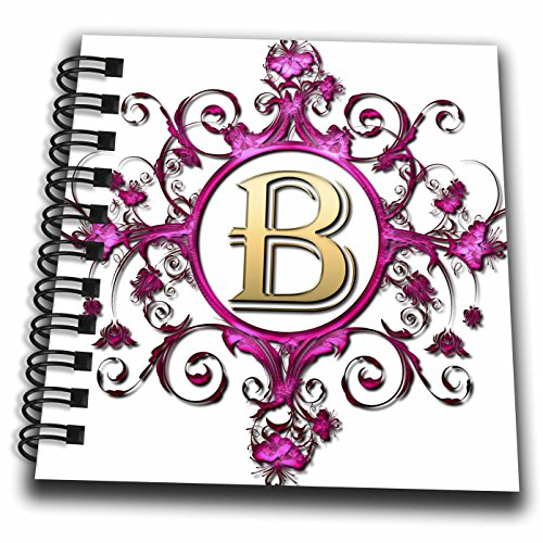 (3D Rose Jeweled Pink Ornamental Circle with A Gold B Letter Monogram Mini Notepad)