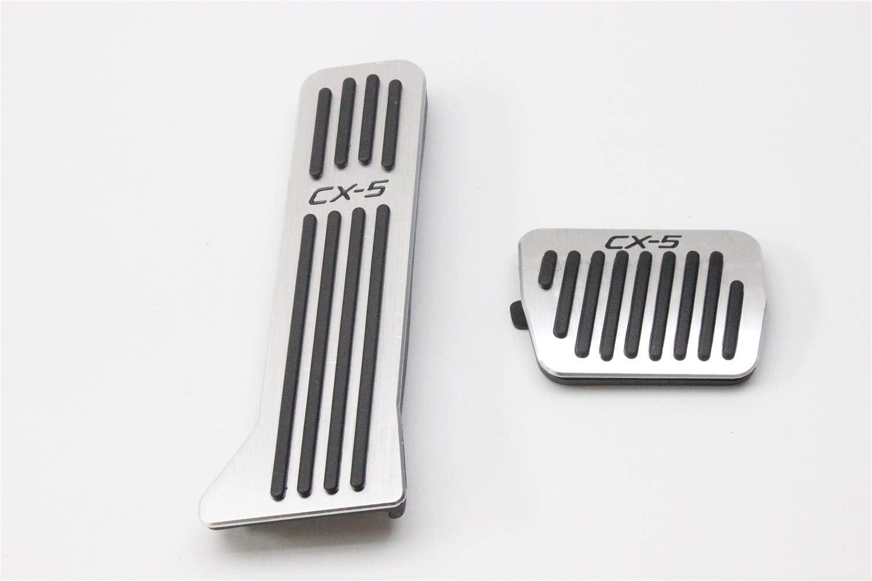 B OLIKE 2 Pcs Aluminum Alloy Car Fuel Accelerator Pedal Brake Pedal Cover Kit for Mazda CX5 CX-5 2012-2017