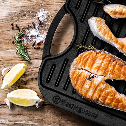 """Westinghouse WFL2010RG Select Series Seasonsed Cast Iron 20"""" X 10"""" Grill/Griddle - Amazon Exclusive"""