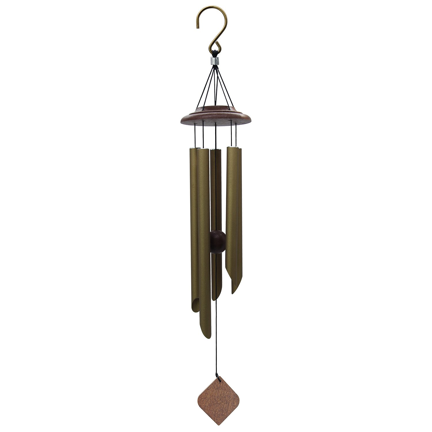 Wind Chimes Outdoor Deep Tone, Memorial Wind Chimes with Amazing Grace Sound, Sympathy Chimes with 5 Metal Tubes, Bronze Wind Chime for Garden, Balcony, Patio and Home Decor, Tuned Wind Chimes (26'')