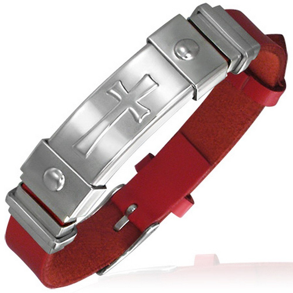 My Daily Styles Stainless Steel and PU Faux Leather Red and Silver Maltese Cross Womens Bracelet T0162