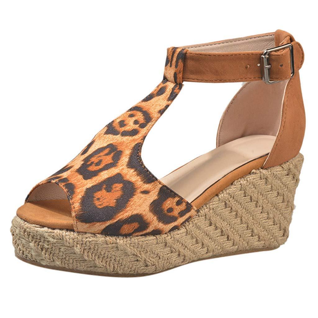 2019 Summer New Women's High Heel Platform Sandals Fish Mouth Wedge Shoes Bohemia T-Bar Sandals Brown
