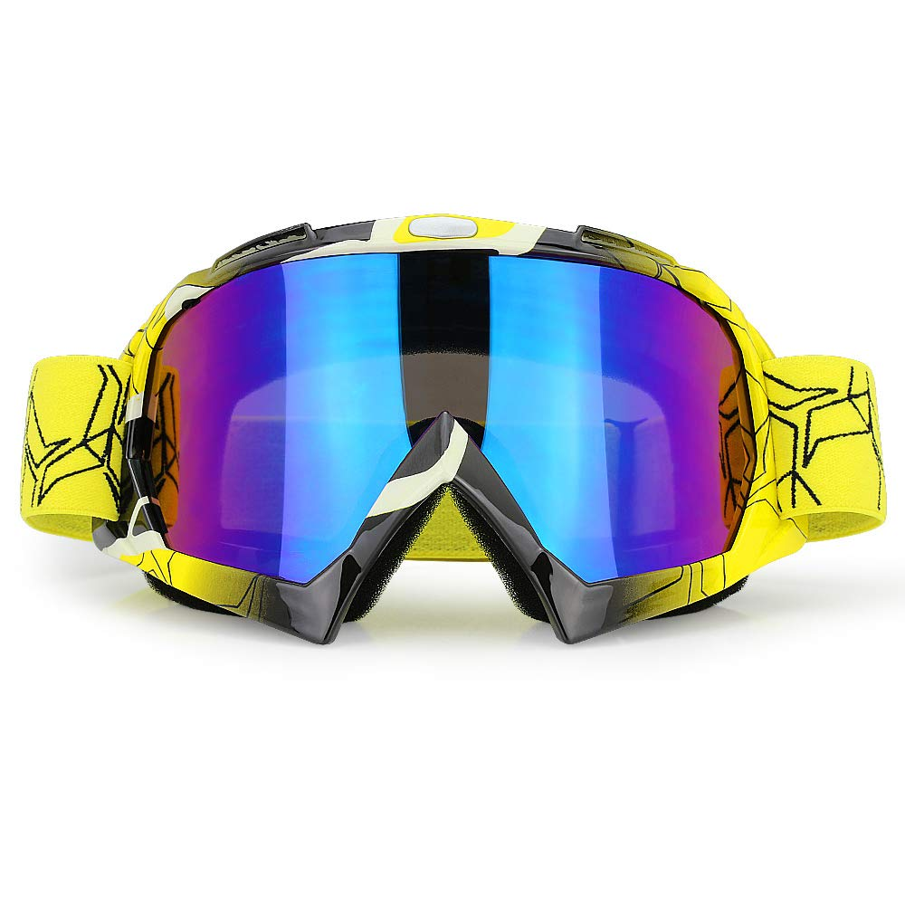 JAMIEWIN ATV Goggles Dirt Bike Motorcycle Glasses Off Road Mx Eyewear for Men Women Adults Youth (Yellow) by JAMIEWIN