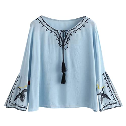 HARRYSTORE Temperamento mujeres bordado manga larga azul T-Shirt blusa informal borla Tops