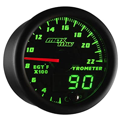 "MaxTow Double Vision 2200 F Pyrometer Exhaust Gas Temperature EGT Gauge Kit - Includes Type K Probe - Black Gauge Face - Green LED Dial - Analog & Digital Readouts - for Gas Trucks - 2-1/16"" 52mm: Automotive"