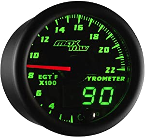 """MaxTow Double Vision 2200 F Pyrometer Exhaust Gas Temperature EGT Gauge Kit - Includes Type K Probe - Black Gauge Face - Green LED Dial - Analog & Digital Readouts - for Gas Trucks - 2-1/16"""" 52mm"""