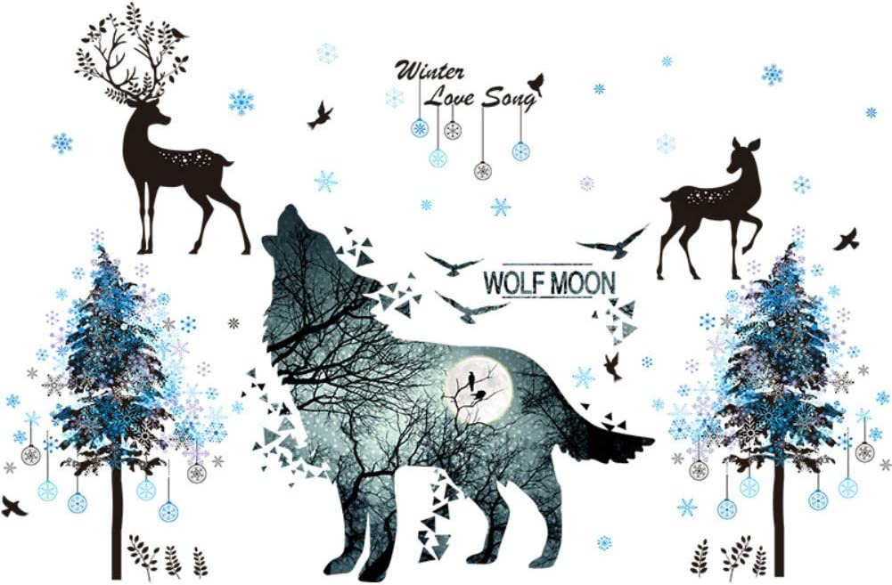 TCM Moon Wolf Decor Wall Decal with Deer Wall Decal Removable Snow Art Murals for Kids Room Bedroom Playing Room Nursery Decor(Large, Wolf&Deer)