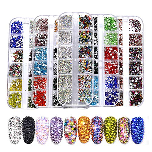 BLINGINBOX Nail Art Rhinestones 3100pcs Multi-size Glass 2 Boxes Mixed Colors Flatback Crystal Strass Charm Gems Manicure Nail Art Decorations(Set 4)