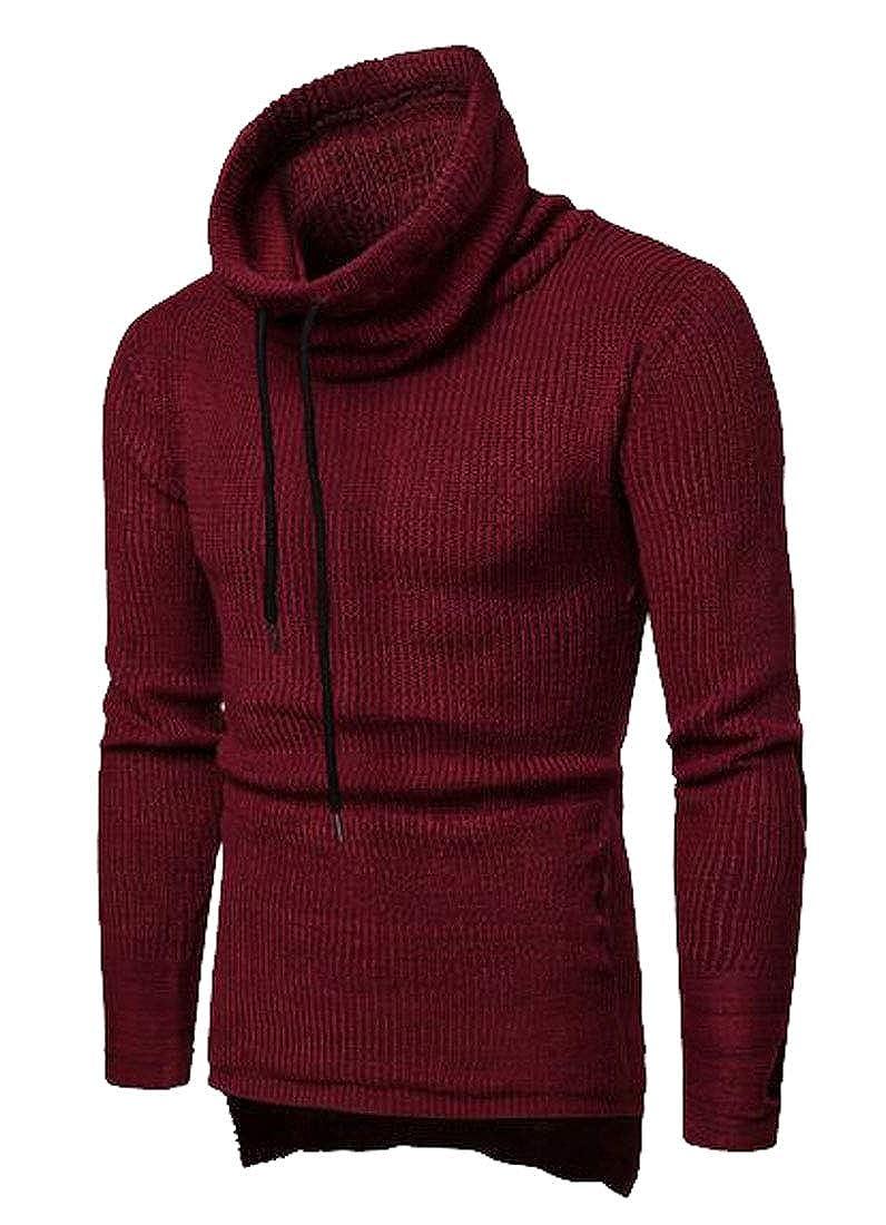 OTW Mens Thicker High Low Slim Turtleneck Knitting Pullover Sweater