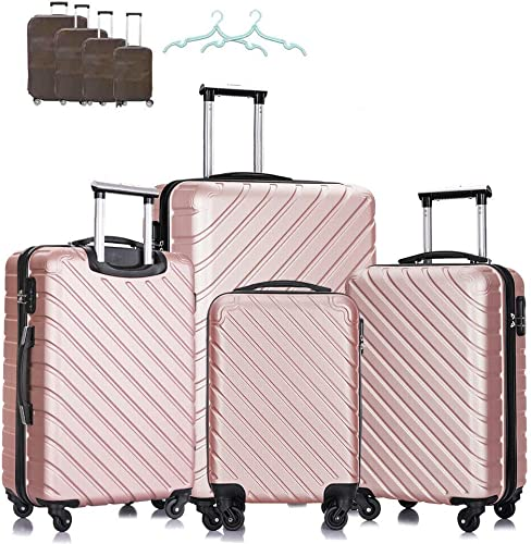 Paddie Luggage Sets 4 Piece, Suitcase Trolley Hardshell Lightweight ABS Carry-on with FREE Covers Hangers Wheels Spinner 18 20 24 28 Rose Gold
