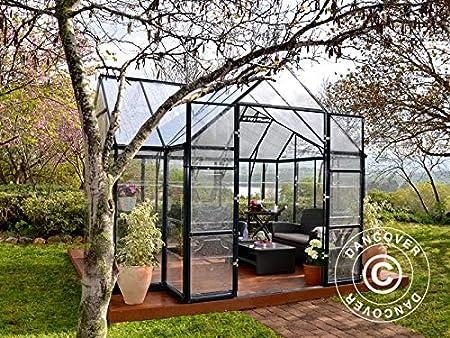 Dancover Invernadero orangerie de policarbonato Victory, 10,41m², 3,66x3,05x2,69m, Gris: Amazon.es: Jardín