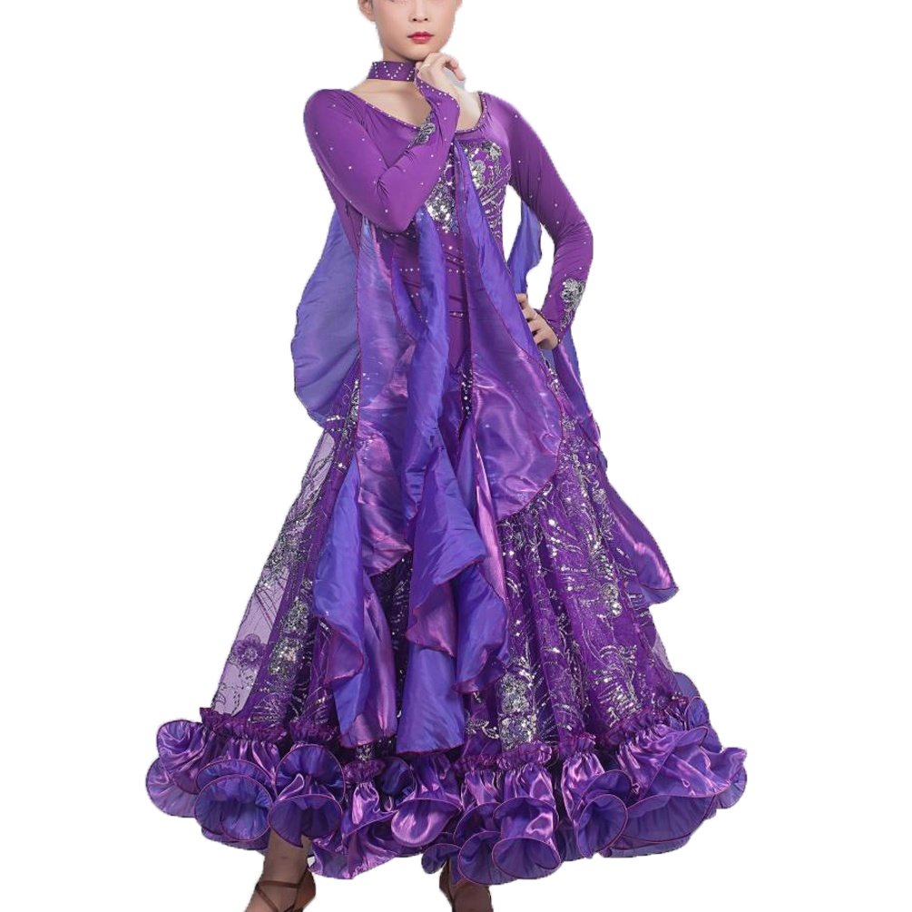 PURPLE-L WQWLF Luxurious Ballroom Dance Dress For Women Competition Performance Tulle Sequin Embroidered Modern Waltz Dancewear Great Swing