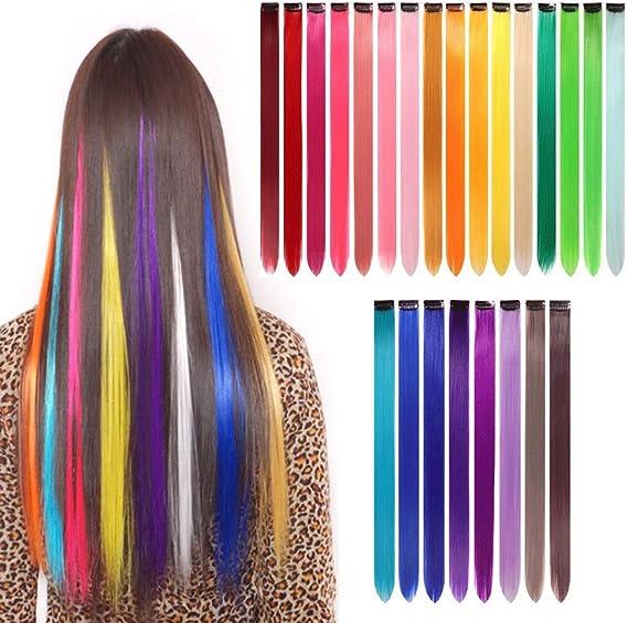 gotyou 24 Piezas Clip de Extensiones de Cabello liso Colorido,Pelucas de Clip Multicolor del arco Iris Extensiones de Cabello,Accesorios de Vestir ...