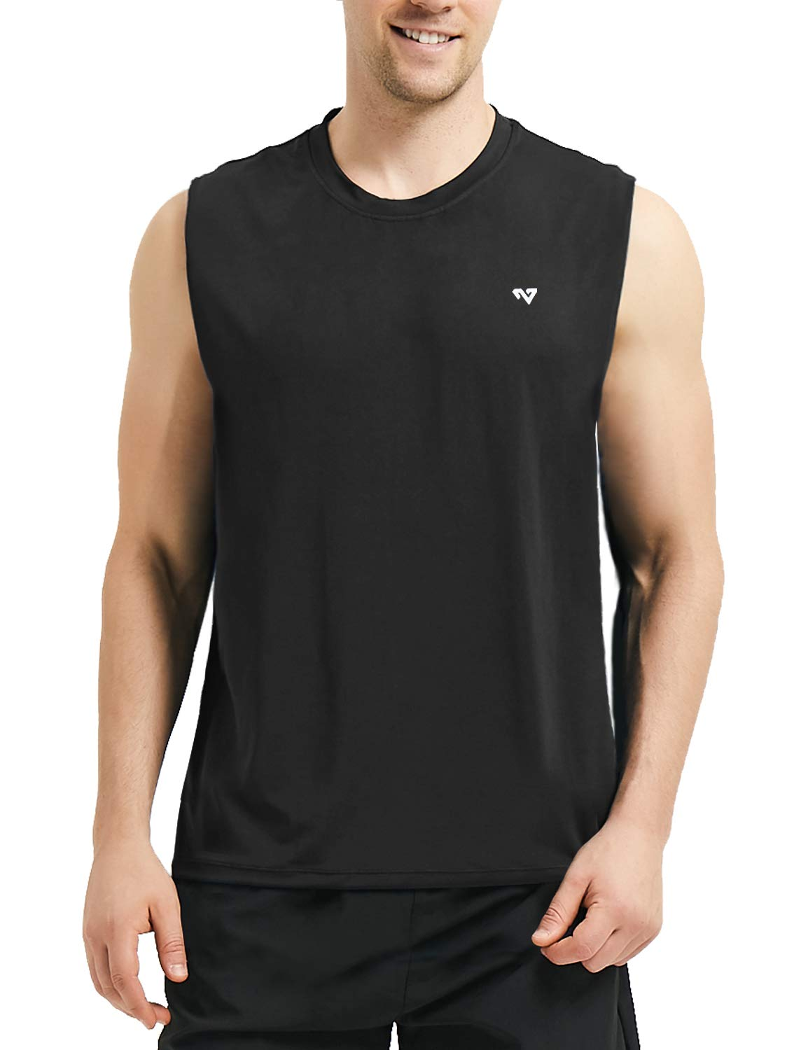 Roadbox Men's Performance Sleeveless Workout Muscle Bodybuilding Tank Tops Shirts(Black 3X-Large) by Roadbox