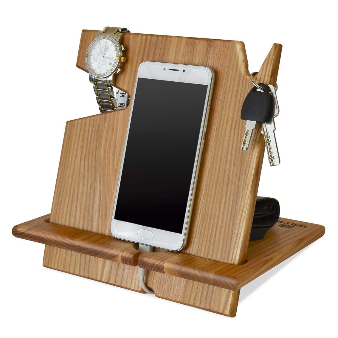 2abc81a8f682 Wood Phone Docking Station Ash Key Holder Wallet Stand Watch Organizer Men  Gift Husband Wife Anniversary Dad Birthday Nightstand Purse Tablet Boyfriend  ...