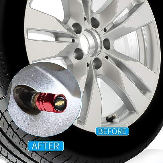 GO-UPP 5Pcs Metal Car Wheel Tire Valve Stem Caps For Chevrolet Cruze Camero Malibu Captiva Silverado Colorado Aveo Corvette Decorative Accessory