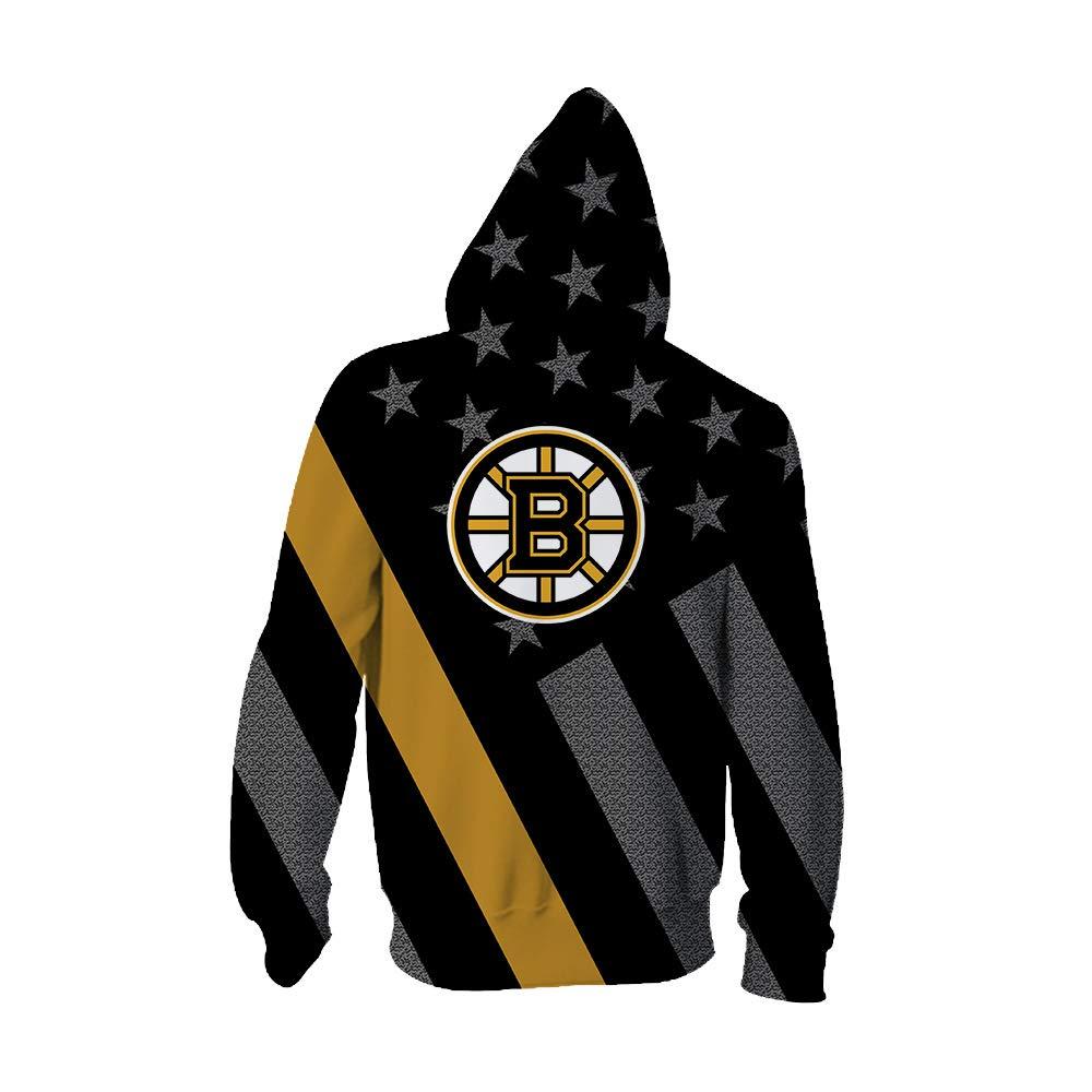 SXELODIE Mode 3D Zip Up Hoodie Gedruckt Boston Bruins Team Hoodie Strickjacke Grafik Jacke Sweatshirts Mit Kapuze mit Gro/ßen Taschen M/änner