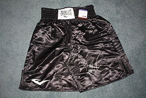 (MIKE TYSON SIGNED AUTO EVERLAST BLACK BOXING TRUNKS TRISTAR AUTOGRAPHED)