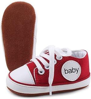 OOSAKU Toile Filles bébé garçon Chaussures à Lacets Semelle en Cuir Souple Chaussures Confortables Causal Toddler sposts