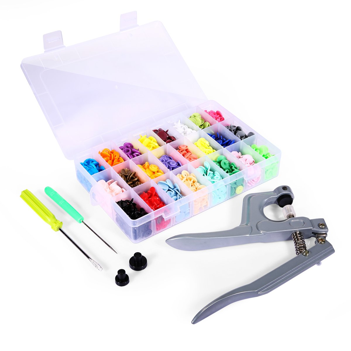 Leopardprintfans 360pcs T5 Snaps Plastic Buttons Size 20 with Snaps Pliers Set for Clothing Sewing and Crafting 4337005993