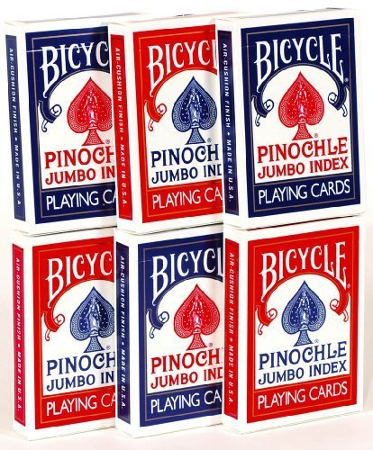 Pinochle Playing Cards Jumbo Index - Bundle of 6 Decks