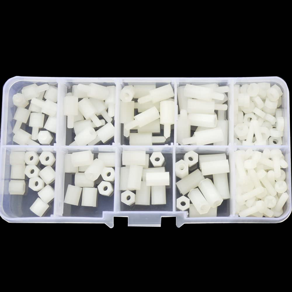 Computer /& Circuit Board Assortment Kit; White Quadcopter Drone M2 Male to Male Nylon Hex Standoff Plastic Thread Motherboard Spacer Prototyping Accessories for PCB