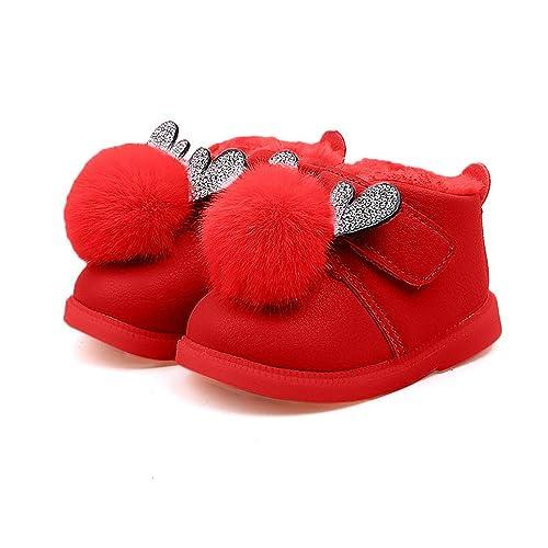 Botas Unisex de Nieve de Niñas Niños Más Terciopelo de PU Zapatos de Bebé Cervatillo de