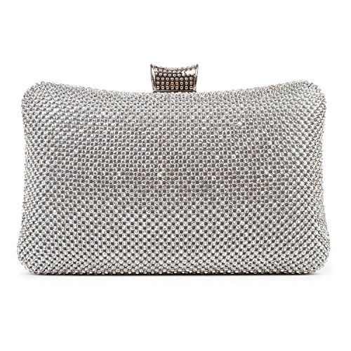 Kisschic Crystal Evening Bags Rhinestone Black/Silver/Gold Clutch Bag Purse for Women Silver