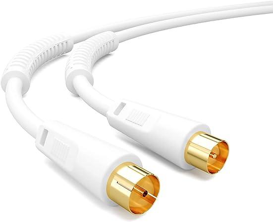 HB-DIGITAL 1m Cable de Antena cable conexión cable coaxial de TV cable coaxial chapado en oro con filtro de corriente con núcleo de ferrita 2X para ...