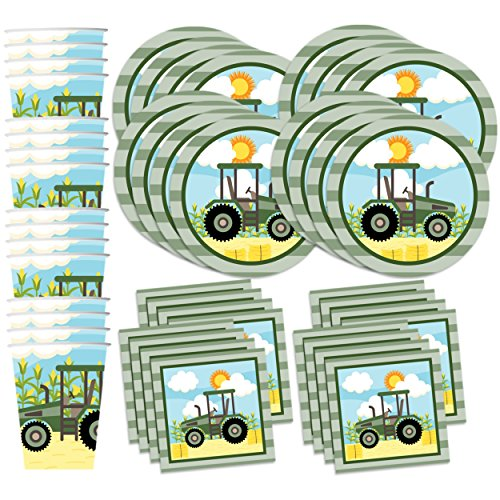 Farm Tractor Time Birthday Party Supplies Set Plates Napkins Cups Kit for 16 (Supply Tractor)
