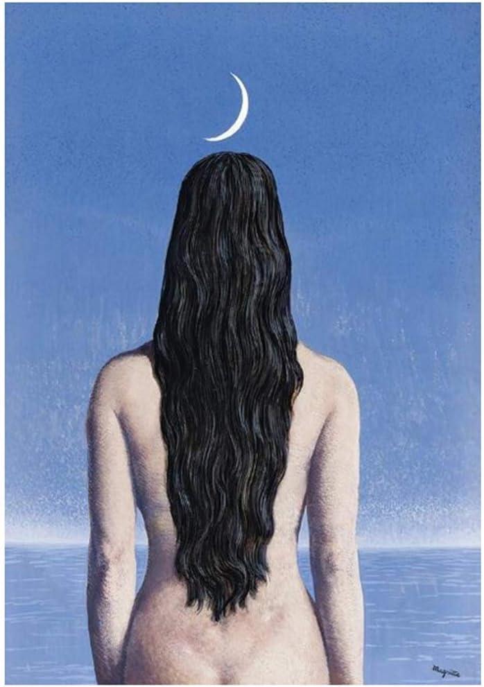 wzgsffs The Evening Gown Pinturas sobre Lienzo de René Magritte Famosos Cuadros de Arte Impresiones Surrealismo Imágenes de Arte para Sala de Estar -20X30 Pulgadas Sin Marco