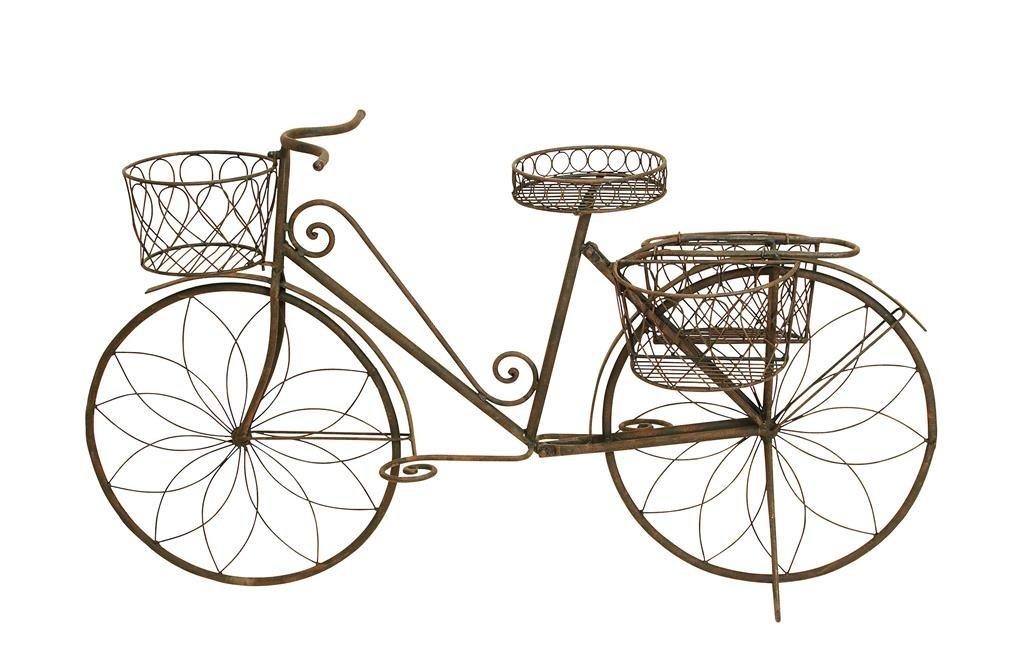 Amazon.com: Deco 79 Metal Bicycle Garden Planter, Rustic Brown: Home U0026  Kitchen