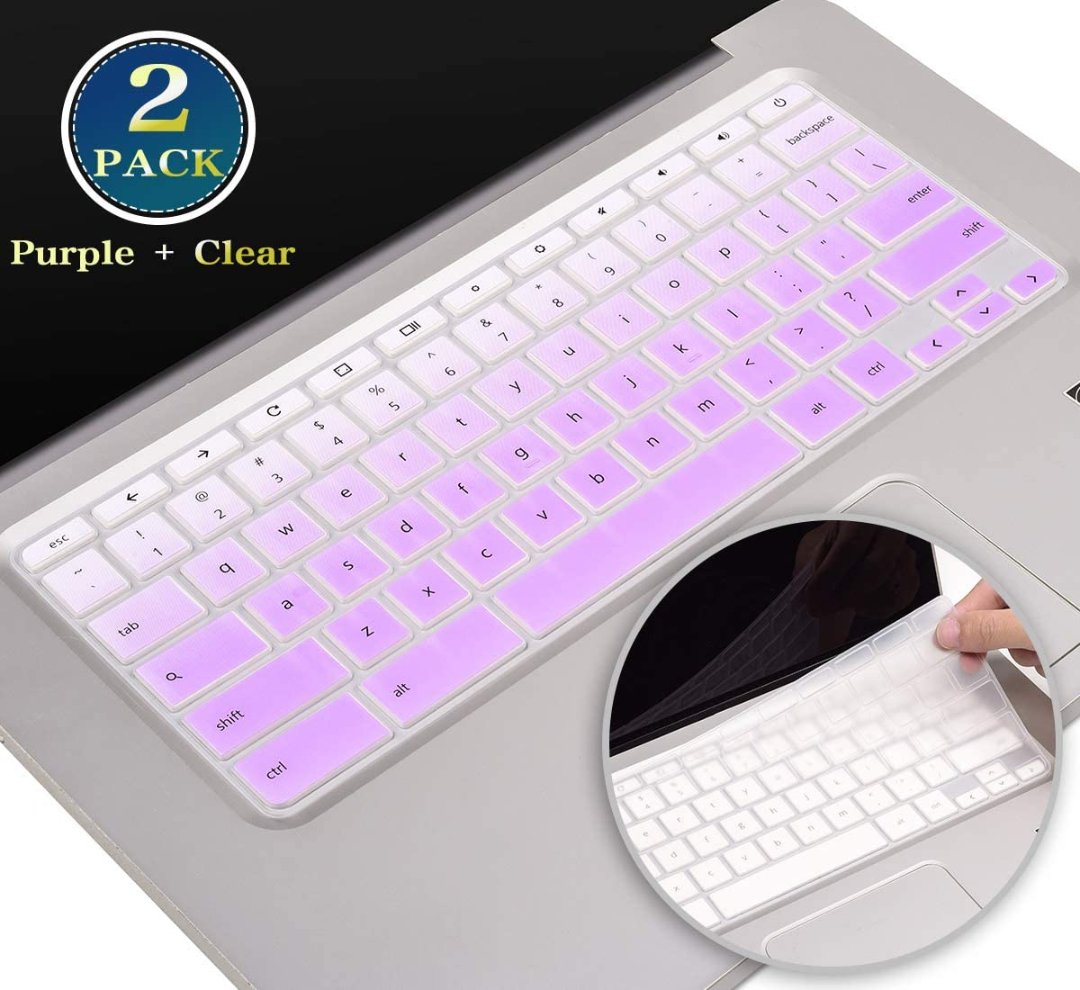 Silicone Keyboard Cover Skin for HP Chromebook 11 G2, G3, G4, G5, G6 EE, G7 EE Series, HP Chromebook 14 G2 G3 G4 G5 Series, HP Chromebook 14-ak 14-ca 14-db 14-X Series (Ombre Purple+Clear)